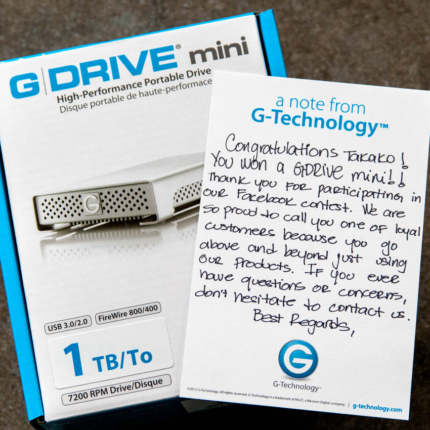 G-Technology Facebook Giveaway Prize and Handwritten Congratulations