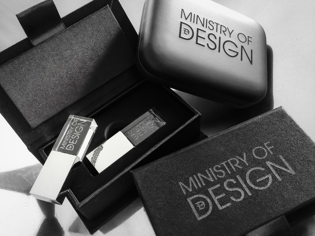 New crystal USB drive in modern, sophisticated box